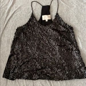 J.O.A. Los Angeles Sz M Blk Sequin Tank